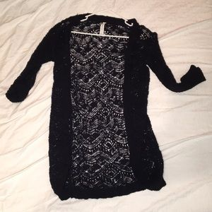 Long lace sweater cover up